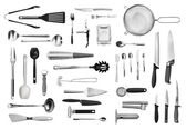 Kitchen equipment and cutlery set — Stockfoto