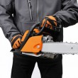 Chain saw in male workers hands — Stock Photo #59441107