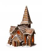Gingerbread cookies Christmas house isolated — Stockfoto