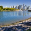 Vancouver skyline, water, urban park — Stock Photo #60951311