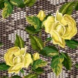 Постер, плакат: Seamless background with snake skin and flowers of roses