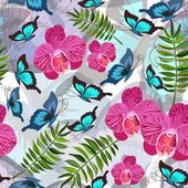 Seamless background with tropical butterflies — Stockvektor