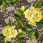 Seamless background with snake skin and flowers of roses — Stok Vektör
