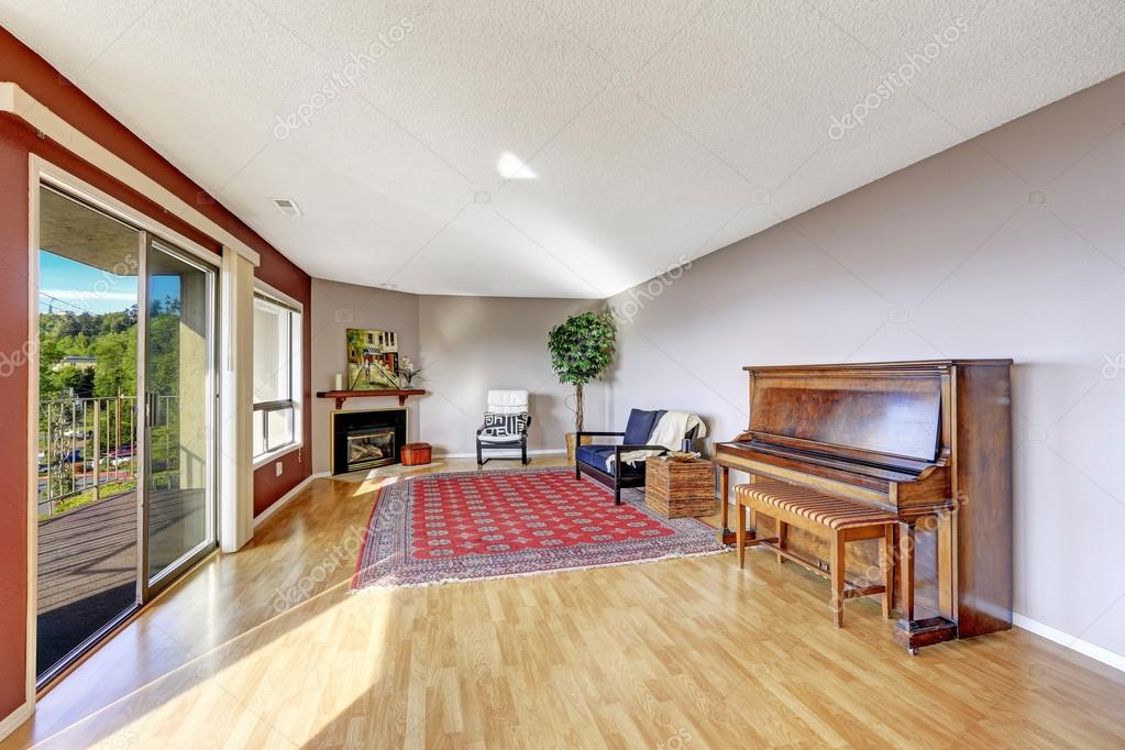 Living Room With Hardwood Floor Fireplace Piano And Rug Doors To Balcony Photo By Iriana88w