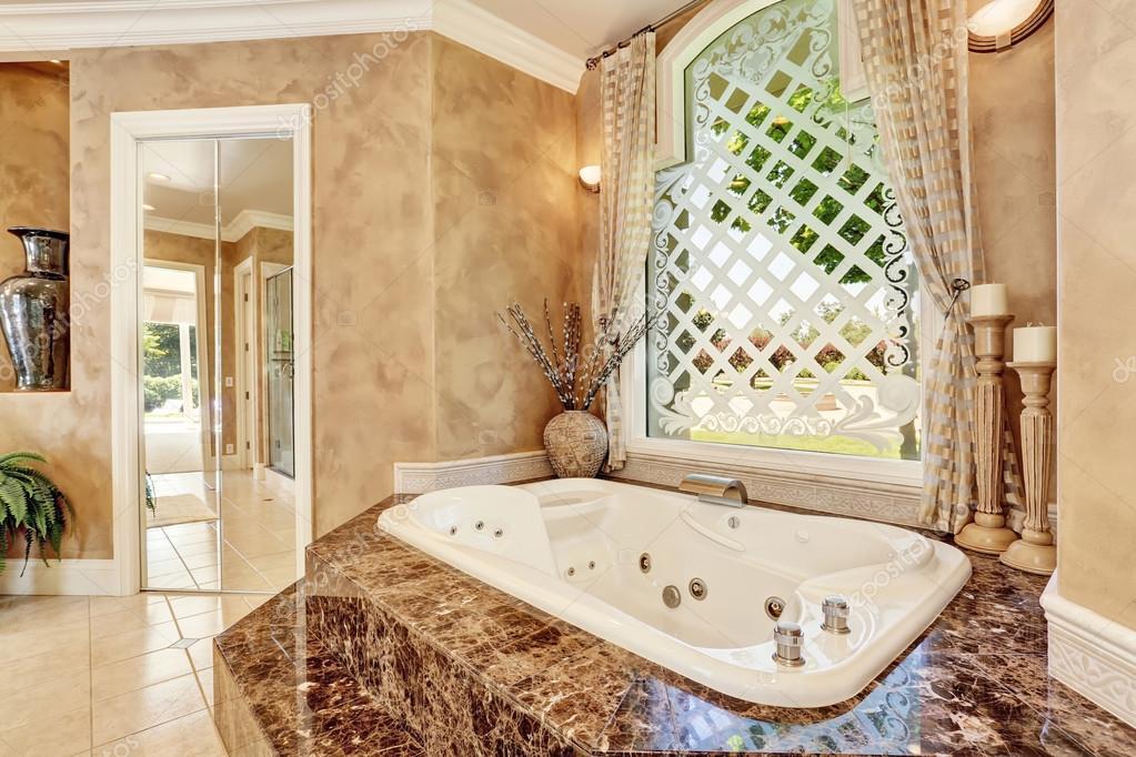 Beautiful Luxury Marble Bathroom Interior In Beige Color