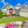 American house with beautiful landscape and vivid flowers — Stock Photo #51925277
