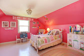 Beautiful girls room in bright pink color — Stock Photo