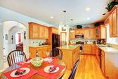 Kitchen room interior in luxury house — Stock Photo