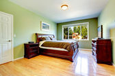 Green bedroom with carved wood furniture — Стоковое фото