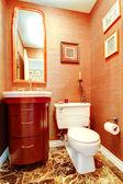 Bright orange bathroom in luxury house — 图库照片
