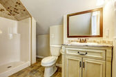 Bathroom with vaulted ceiling. Vanity cabinet and mirror — Stock Photo