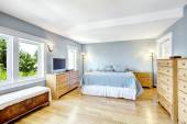 Bright light blue bedroom interior — Stock Photo