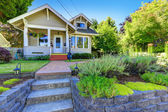 Classic american house exterior with landscape — Stock Photo