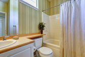 Simple bathroom interior with green wallpaper — Stock Photo