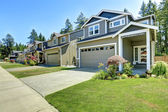 Classic american house exterior with garage and driveway — Stock Photo