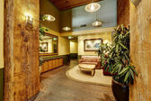 Beautiful foyer with brick and wooden trim. Residential building — Stock Photo