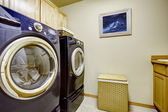 Light laundry room with purple appliances — Stock Photo
