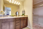 Bathroom vanity cabinet with large mirror — Stock Photo