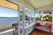 Sun room and walkout deck. American architecture. Real estate wi — Stock Photo