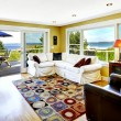 Living room with walkout deck and bay view. Tacoma real estate, — Stock Photo #53559447