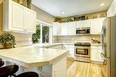 White kitchen room with window — Foto Stock