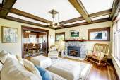 Coffered ceiling in living room.  — Stock Photo