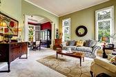 Interior de la casa de lujo. luz verde habitación familiar — Foto de Stock