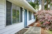 Exterior de la casa con ribete azul... entrada puerta y hormigón walkw — Foto de Stock