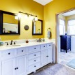 Beautiful  vanity cabinet in bright yellow bathroom — Stock Photo #54399191