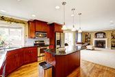 Kitchen room interior with island — Stock Photo