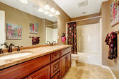 Bathroom interior in light mocha color  — Stock Photo