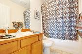 浴室内装饰着毛巾和窗帘 — 图库照片