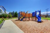 Colorful playground in american neighborhood — Stock Photo