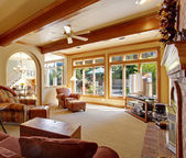 Living room with ceiling beams — Stock Photo