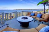 Cozy patio area with Puget Sound view. Tacoma, WA — Stock Photo