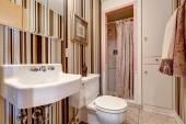 Bathroom with brown stripped wallpaper — Foto de Stock