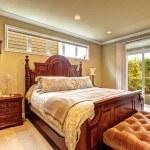 Luxury bedroom carved wood furniture set — Stock Photo #55826231