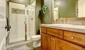 Bathroom interior with dark olive walls — Stock Photo