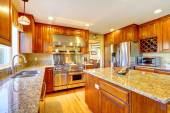 Shiny luxury kitchen room with island — Foto de Stock