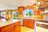 Bright luxury kitchen room with exit to backyard — Stock Photo