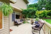 Spacious walkout deck with sitting area — Foto de Stock