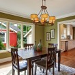 Dining room with olive tone walls — Stock Photo #56012985