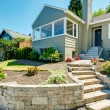 Front yard landscape with stone trim. House exterior — Stock Photo #59509167