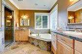 Luxus Badezimmer Interieur mit Eckbadewanne — Stockfoto