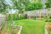 Fenced backyard landscape desing — Stock Photo