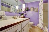 Härlig lila tema badrum. — Stockfoto