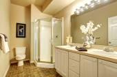 Voguish salle de bains aux murs blancs et douche vitrée. — Photo