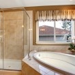 Large elegant master bathroom with tile floors, and glass shower — Stock Photo #77672750
