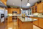 Astounding kitchen with hardwood floors, and marble counters. — Stock Photo