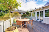 Nice furnished back deck with plants. — Stock Photo